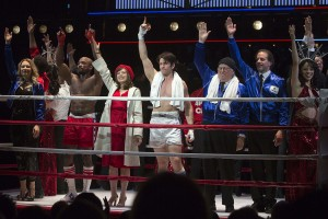 Cast members thank attendees during the curtain call at the preview performance of Rocky on Broadway in Manhattan, New York